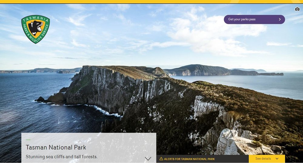 Parks and Wildlife, Tasman National Park web page